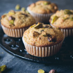 pistachio, dark chocolate & olive oil muffins