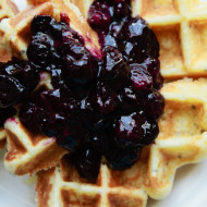 lemon, ricotta and chia seed waffles with blueberry sauce {gluten free}