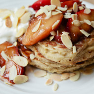 fluffy buckwheat pancakes with caramelised ginger peaches {gluten free}