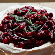 winter pavlova with cranberries and candied rosemary {gluten free}